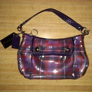 COACH POPPY SEQUIN TARTAN GROOVY HAND BAG 16048